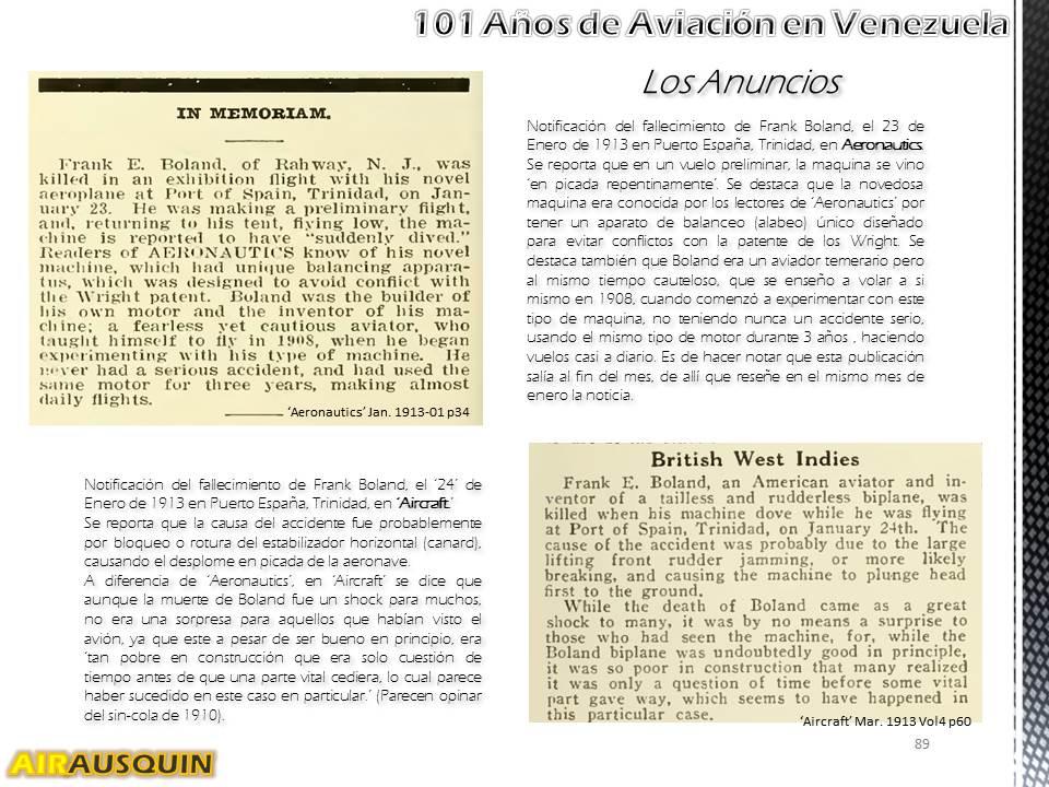 101 Años Aviación en Venezuela - Alejandro Irausquín, Ing. Aeronautico Ene2014 p89