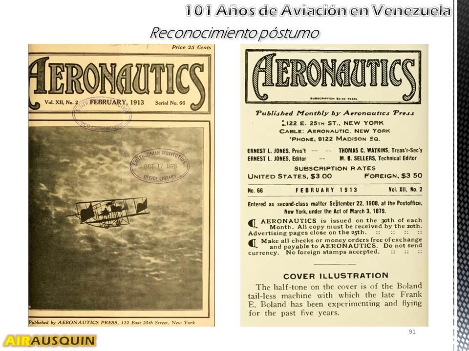 101 Años Aviación en Venezuela - Alejandro Irausquín, Ing. Aeronautico Ene2014 p91