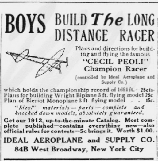 Advertisements for A-frame pushers 'Cecil Peoli' Champion Racer, (1912)