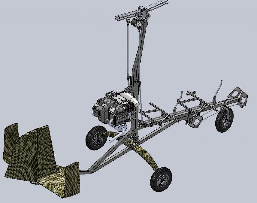 Modelo digital del MTO de AutoGyro, sin el carenado ni palas.