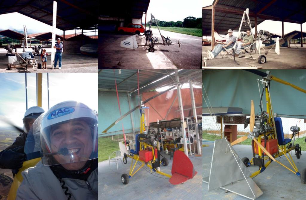 Autogiros en Venezula. Girosur Bimotor (arriba). Gilberto Plata y su ultraligero Hornet (debajo)
