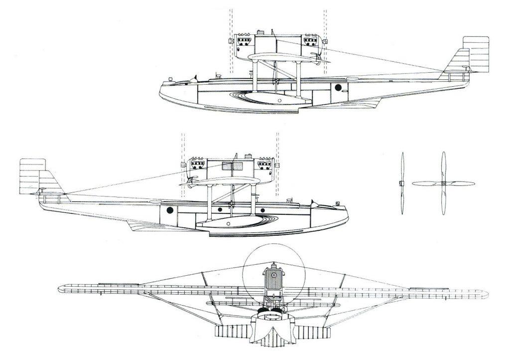 Dibujo de las vistas laterales y frontal del Dornier Wall, en concreto el denominado 'Plus Ultra'