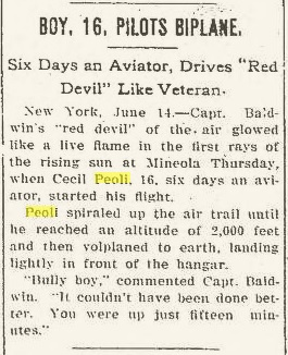 Peoli.FirstFlight.Evening Independent, Massillon, Ohio, Friday, June 14, 1912