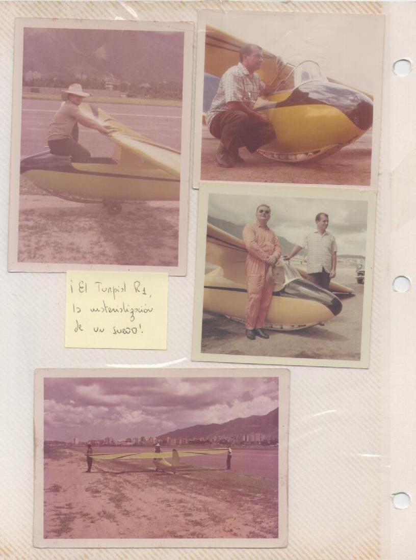 El Turpial (R1) en su vuelo inaugural, Julio 1964. En las fotos su constructor y dueño, Romano Remiddi, y el piloto e instructor de planeadores Jaromir Flolik, en La Carlota [Archivo fotográfico de la familia Remiddi González].