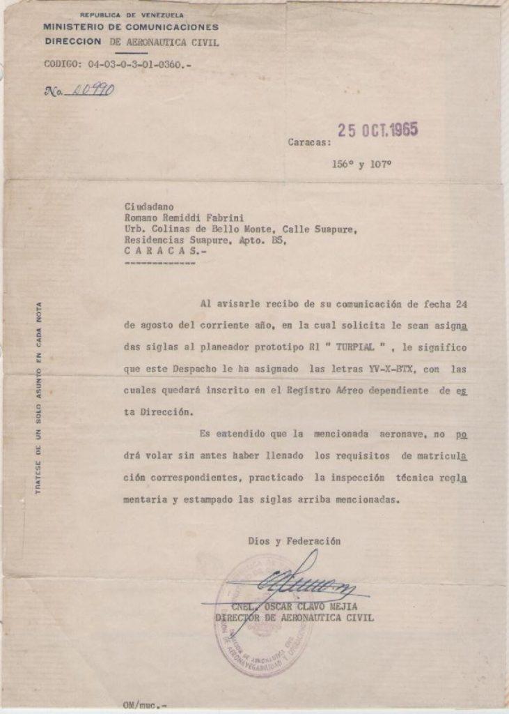 Asignación de la matrícula YV-X-BTX al planeador Turpial, que lo convertiría en la primera aeronave en Venezuela en ser registrada bajo categoría experimental (-X-). [Archivo de la familia Remiddi González/AVER].