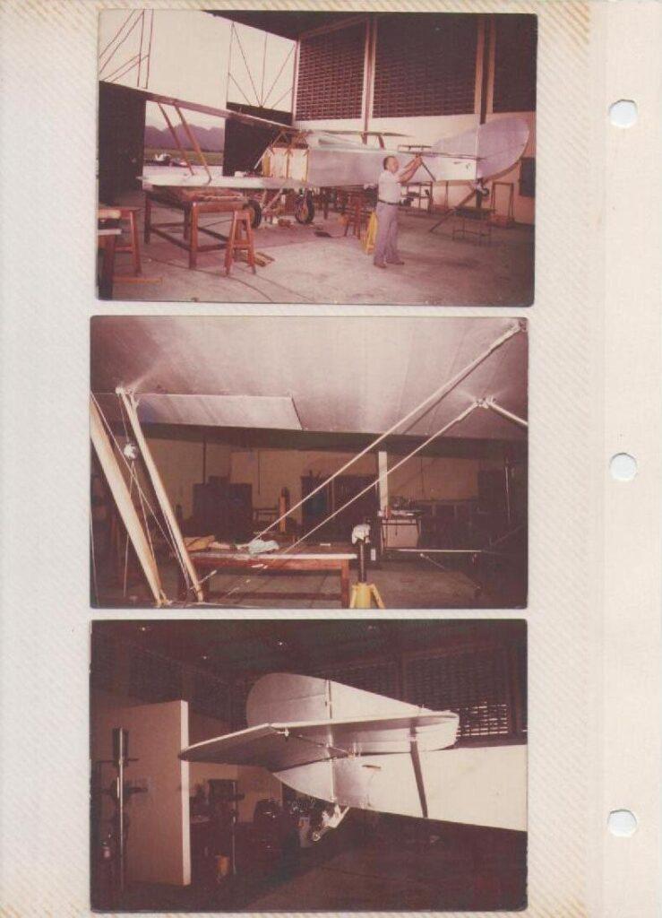 Hanriot HD1-ET, ya entelado y ensamblado, listo para pintura, al que Romano Remiddi da unos últimos toques. [Archivo fotográfico de la familia Remiddi González].