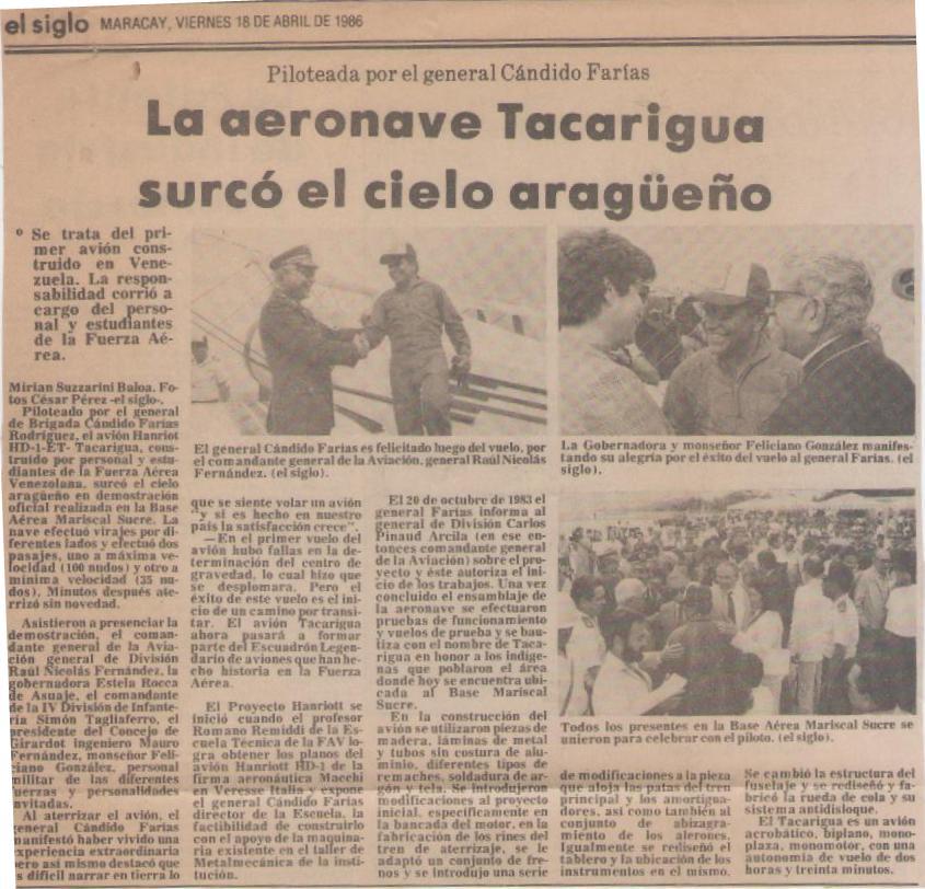 Reseña periodística del diario aragüeño 'El Siglo' sobre el vuelo del Hanriot HD1-ET. [Archivo de la familia Remiddi González].