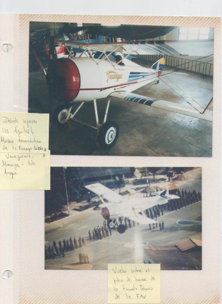 Hanriot HD1-ET en el Museo Aeronáutico de la Fuerza Aérea, y en vuelo sobre el patio de honor de la Escuela Técnica de la Fuerza Aérea Venezolana. [Archivo fotográfico de la familia Remiddi González].