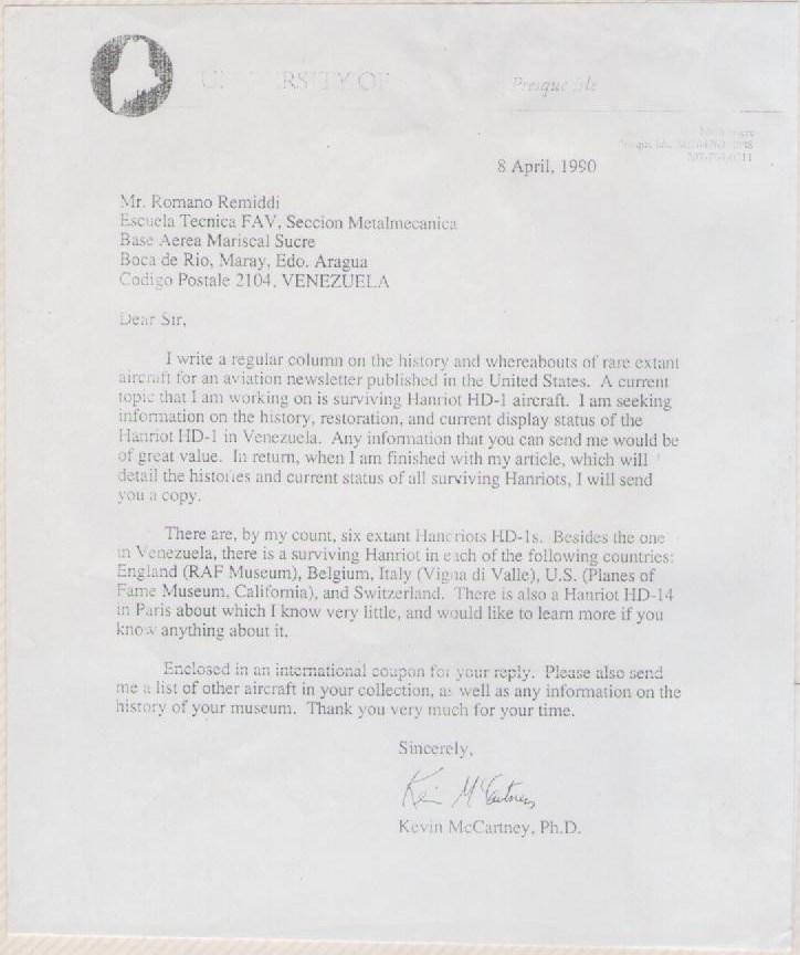 Carta de un historiador norteamericano consultando a Romano Remiddi sobre Hanriot HD1, donde destaca el hecho que, además de la réplica hecha en Venezuela, solo existían 5 ejemplares del Hanriot HD1 en museos en todo el mundo para 1990. [Archivo fotográfico de la familia Remiddi González].