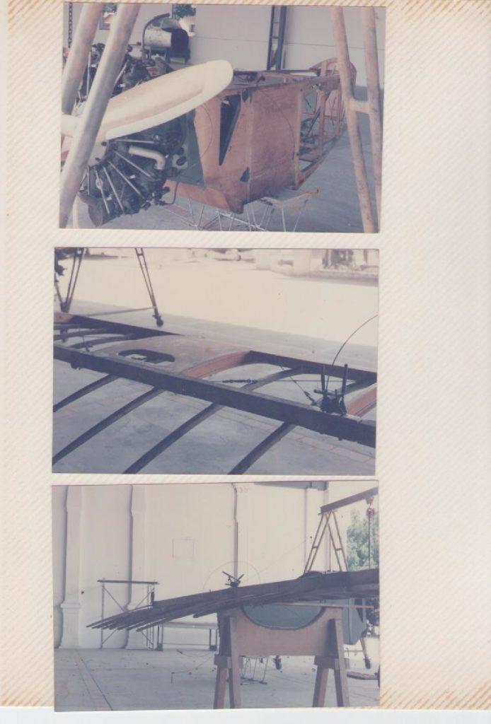 Fuselaje y alas del Caudrón G3 del Escuadrón Legendario, durante el proceso de reacondicionamiento. En las fotos superior e inferior se puede apreciar la pintura verde inicial. [Archivo fotográfico de la familia Remiddi González].