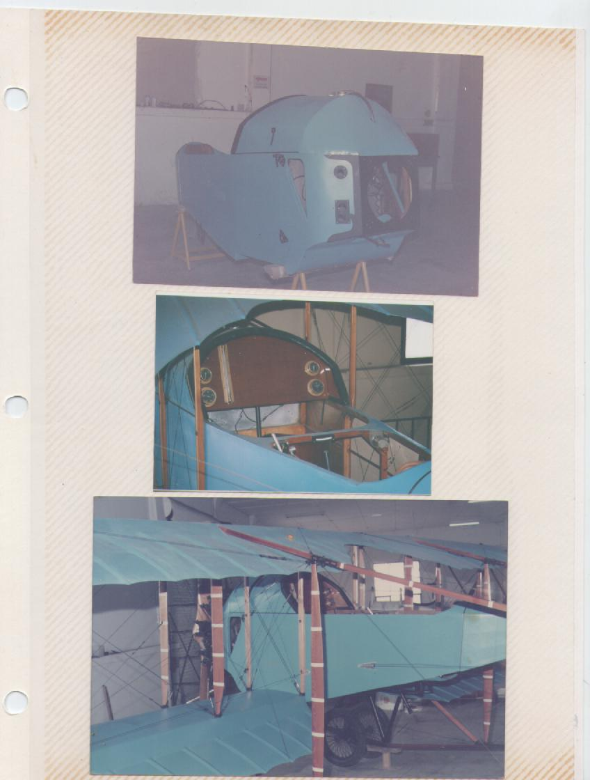 """Fuselaje, panel y ensamble final del Caudrón G3 del Museo Aeronáutico, al finalizar el reacondicionamiento, en el color azul de la """"Chiva"""" de 1923. [Archivo fotográfico de la familia Remiddi González]."""
