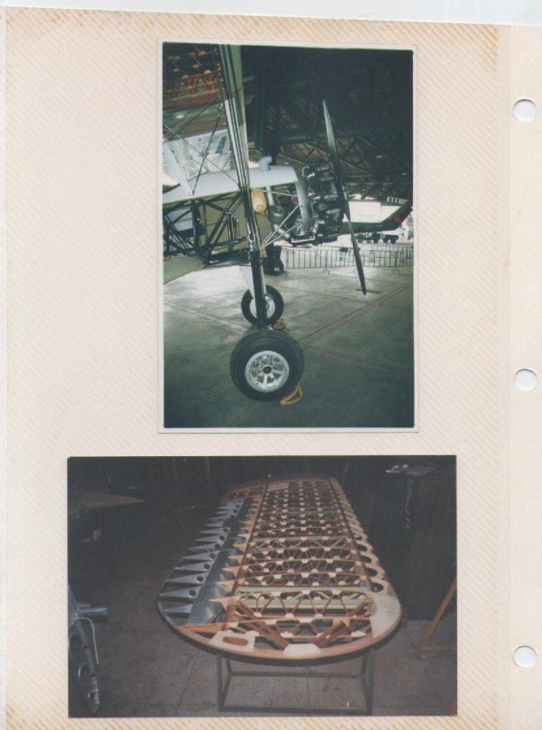 Reacondicionamiento del Stearman PT17 del Museo Aeronáutico exhibiendo su estructura interna. [Archivo fotográfico de la familia Remiddi González].