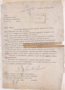 Carta enviada a la empresa Aero Macchi de Italia, fechada el 25 de Junio de 1982.