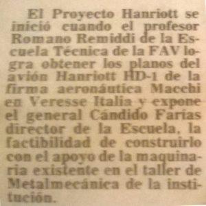 Reseña periodística del diario aragüeño 'El Siglo' destacando la participación de Romano Remiddi en el proyecto. [Archivo de la familia Remiddi González].
