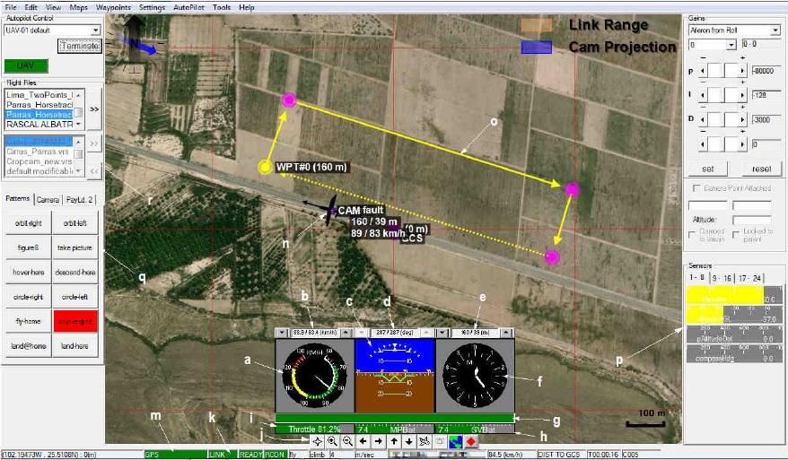 Software de la Consola de control y monitoreo de la ECT. Imagen cortesía de Aerovantech / Dronetech.