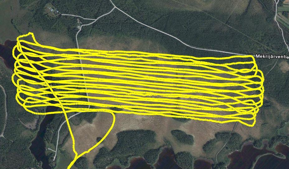 Ejemplo de monitoreo de la misión en la ECT, en este caso, un patrón de fumigación.