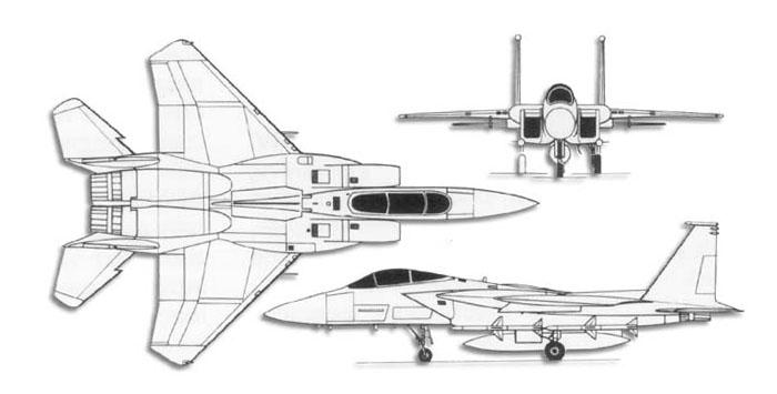 Dibujo de tres vistas de un avión F-15