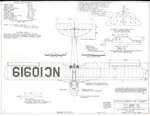 Dibujo de 3 vistas y de detalles del Curtiss-Wright CW-1 Junior. Pag 1 de 3.