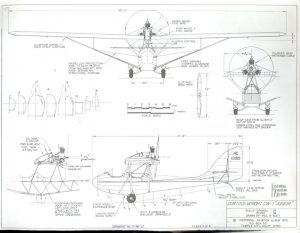 Dibujo de 3 vistas y de detalles del Curtiss-Wright CW-1 Junior. Pag 2 de 3.