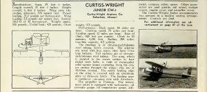 Especificaciones del Curtiss-Wright CW-1 Junior. Revista 'Aero Digest', Vol18 Abril 1931, pag 84.