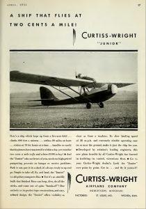 Comercial del Curtiss-Wright CW-1 Junior. Revista 'Aero Digest', Vol18 Abril 1931, pag 87.