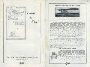 Folleto Promocional de la Escuela de Vuelo Curtis de Garden City, NY. Pag 1-2.