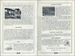 Folleto de la Escuela de Vuelo Curtis de Garden City, NY. Años 20's. Pag 3-4.