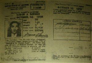 Licencia de Piloto Nro. 17220, emitida por el Departamento de Comercio de los EUA, el 16 de Octubre de 1930. Fuente David Iriarte.