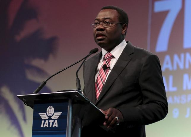 Dr. Olumuyiwa Aliu, President ICAO Council, speaks at the 2015  International Air Transport Association (IATA) Annual General Meeting (AGM) and World Air Transport Summit in Miami Beach, Florida, June 8, 2015.  REUTERS/Joe Skipper