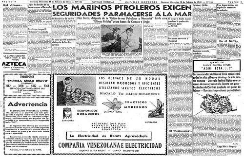 Titulares asociados a la noticia de ataques a buques mercantes y petroleros venezolanos.