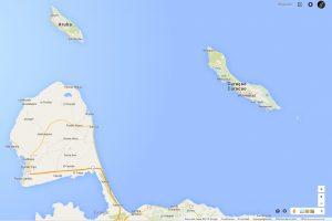 Mapa de Aruba, Curazo y Paraguaná, que muestra su cercanía [5[5 millas náuticas desde Cabo San Román en Paraguaná hasta San Nicolas, en Aruba]width=