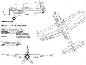 Dibujo de 3 vistas del Vought OS2U-3 Kingfisher.