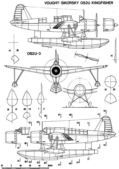 OS2U Kingfisher, vistas laterales y frontales.