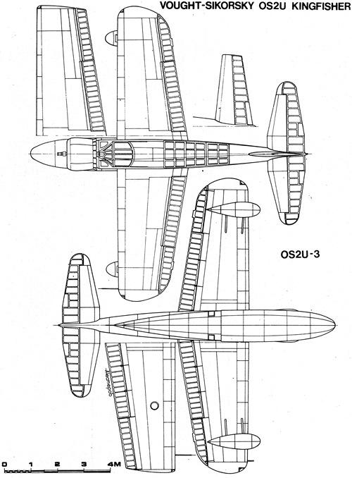 OS2U Kingfisher, vistas superior e inferior.