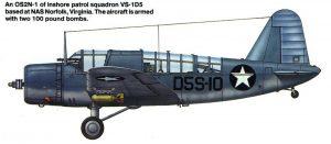 OS2N-1 del escuadrón de patrullaje costero VS-1D5 basado en la Estación Naval de la Marina de Norfolk, Virginia. Aparece armado con 2 bombas de 100 libras.