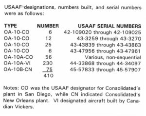 USAAF Serial Numbers OA-10