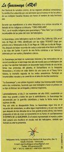 Folleto 20 aniversario 'Sobre La Estela de Colón'.