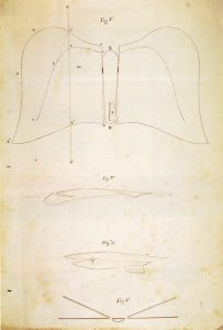 Dibujo de la patente del planeador Pedro Coll Font. Destacan el uso de un perfil con curvatura, el diedro en las semialas y la presencia de un timón de dirección.