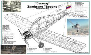 Corte esquemático del Boconó I, cortesía de Renny Lopez. Para ver una versión con la infografía del avión, haga click acá.
