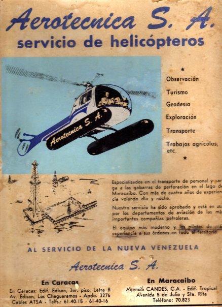 Panfleto de propaganda de Aerotecnica S.A. principio de 1960